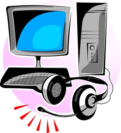 Illustration of a computer monitor, cental processing unit and headphone  illustration