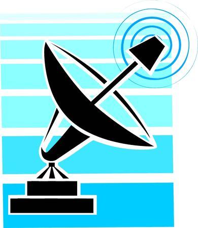Illustration of dish antenna in a base  illustration