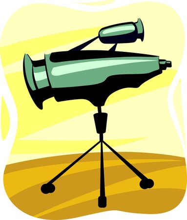 eyepiece: Illustration of a telescope in a tripod