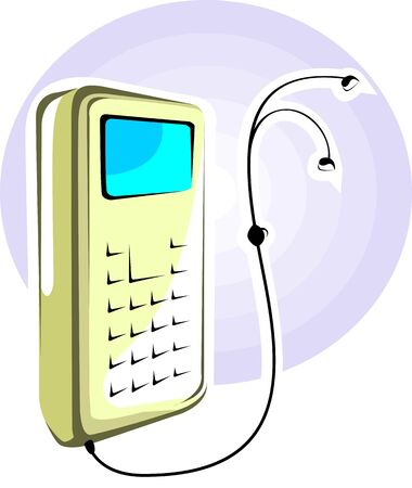 chord: Illustration of mobile phone with charging chord