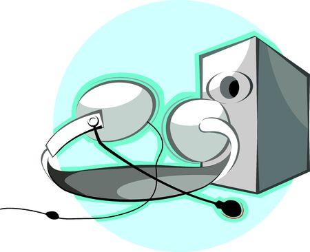 speaker phone: Illustration of a speaker phone with headphone