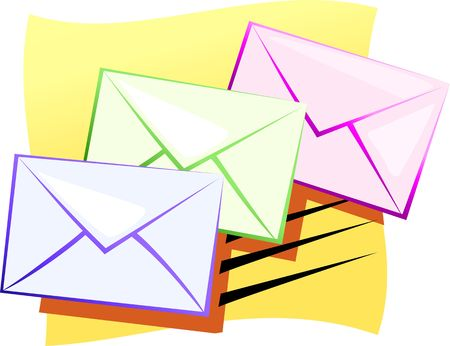 Illustration of envelopes for mail  Stock Photo