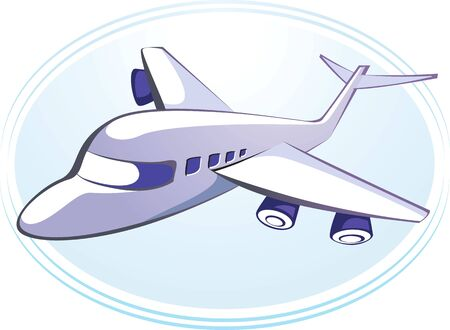 aviations: Illustration of an aeroplane in light blue background Stock Photo