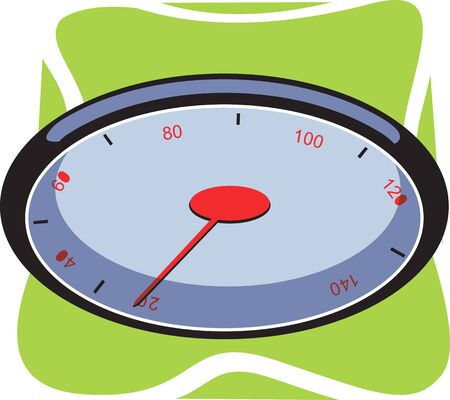 kilometre: Illustration of a tachometer with red needle