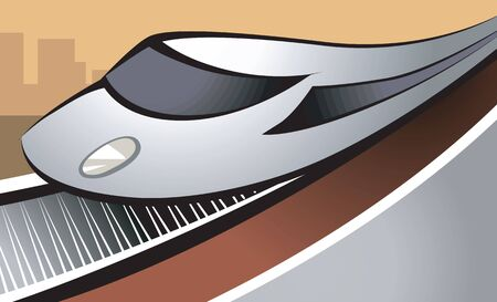 Illustration of an electric train moving in the rail