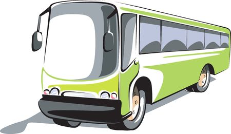 Illustration of a green transport bus  Stok Fotoğraf
