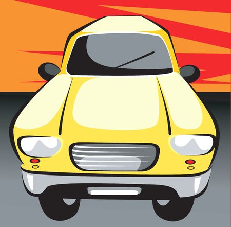 motorised: Illustration of a yellow car in red background