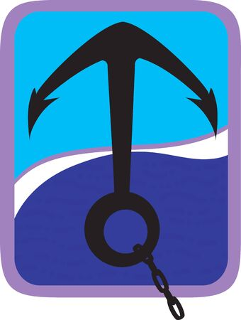 mooring anchor: Illustration of an anchor with chain in blue on waves