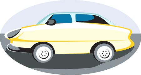 motorised: Illustration of a yellow car isolated