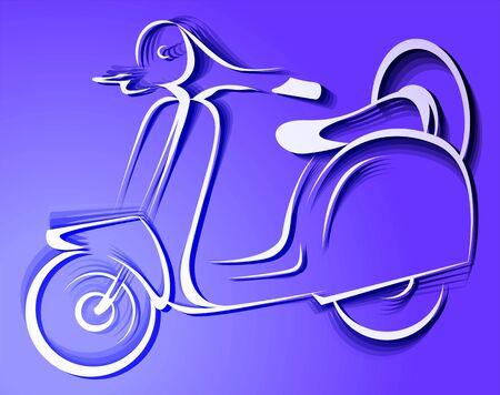 motorised: Illustration of a scooter in violet background