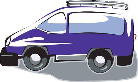 motorised: Illustration of arrow blue van  Stock Photo