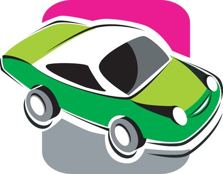 motorised: Illustration of a green car with white top Stock Photo