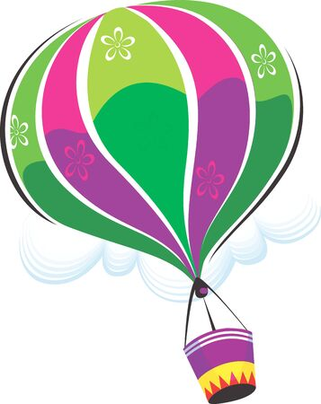 Illustration of a hot air balloon in air  illustration