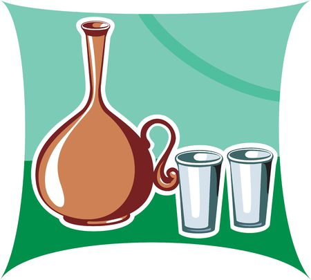 clay pot: Illustration of a clay pot and glasses in green background