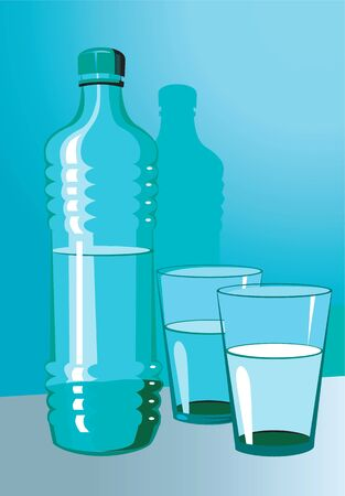 gulp: Illustration of a water bottle and glasses  Stock Photo