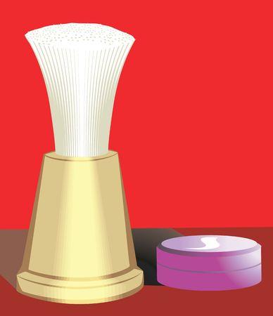shaving brush: Illustration of a shaving brush and shaving cake