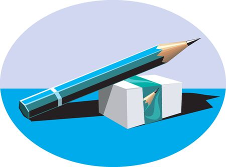 sharpened: Illustration of an eraser with a cover and a sharpened pencil on top  Stock Photo