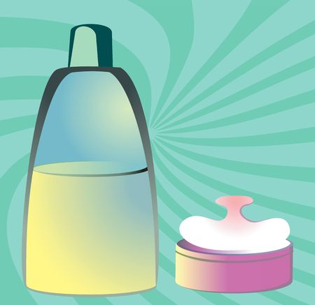 fibres: Illustration of cosmetic items in radiant beam green