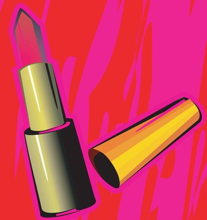 vanity: Illustration of a lipstick isolated in red background