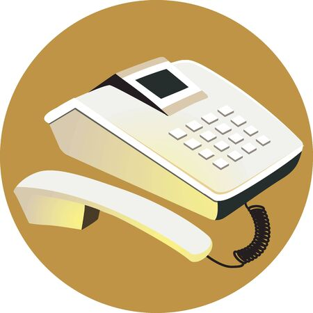 touchtone: Illustration of land phone on brown coloured back ground Stock Photo