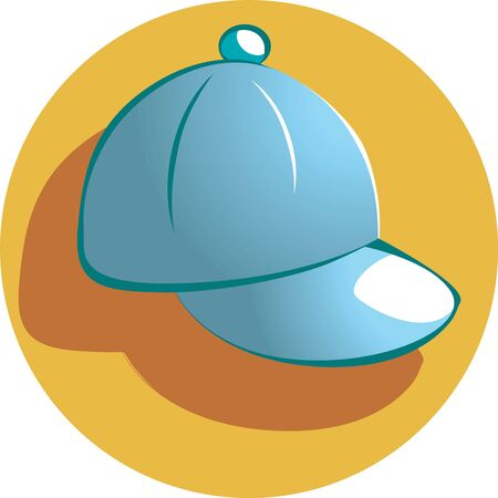 Illustration of a baseball cap in yellow background  illustration