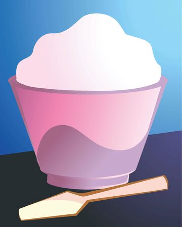 Illustration of ice cr�me in cup and spoon  illustration