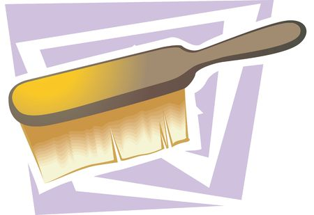 anti bacterial soap: Illustration of a wooden brush with yellow bristles  Stock Photo