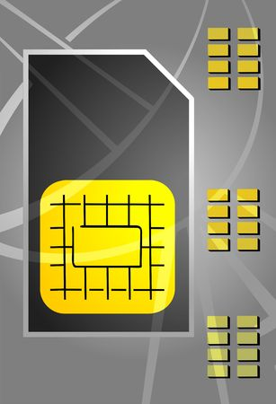 gsm phone: Illustration of a sim card using in mobile phones
