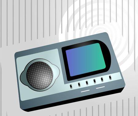 am radio: Illustration of a I- pod in grey background  Stock Photo