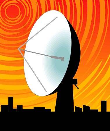 erect: Illustration of dish antenna in yellow background