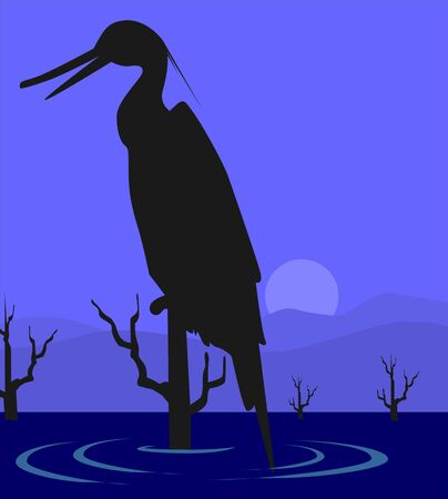 whooping: Illustration of a crane sitting in a tree above water