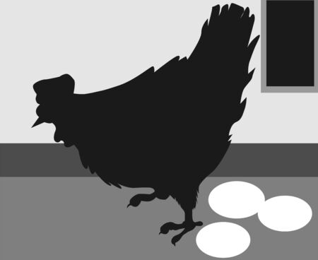Illustration of a hen with eggs in a backyard  illustration