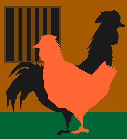 Illustration of a hen and cock  illustration