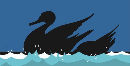Illustration of two swans swimming  illustration