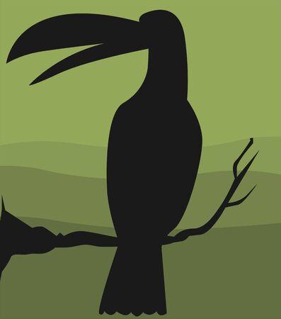 hornbill: Illustration of a hornbill sitting on a branch of tree  Stock Photo