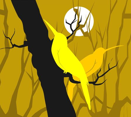 Illustration of two birds sitting on a branch of tree  illustration