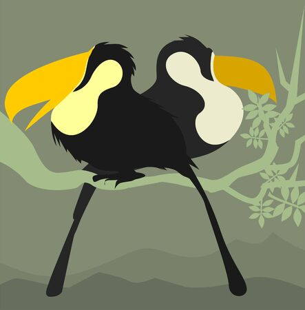 hornbill: Illustration of two hornbills sitting in a branch of tree