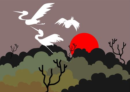 whooping: Illustration of a crane flying above trees   Stock Photo