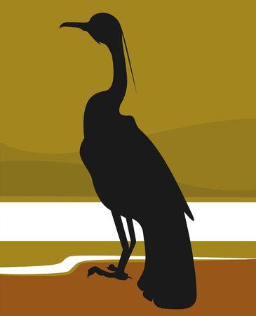 Illustration of silhouette of  bird sitting alone Stock Illustration - 3418174