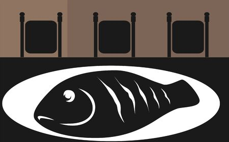 Illustration silhouette of cooked fish in a plate on a table  illustration