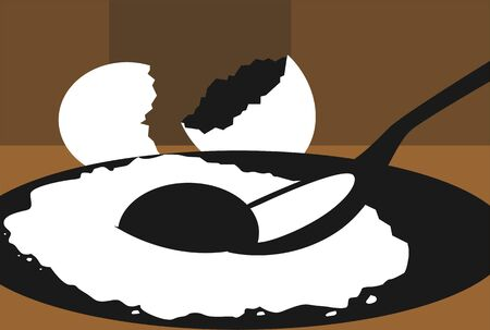 Illustration of egg omelettes in a plate,  illustration