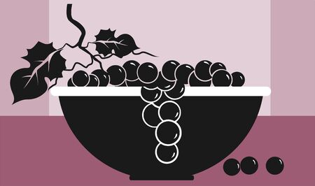 Illustration of silhouette of currants in a bowl  illustration