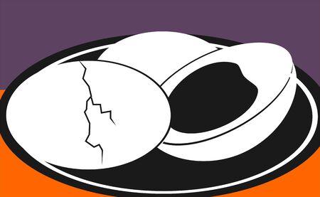 Illustration of egg boiled in a plate  illustration