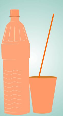 gulp: Illustration of a juice bottle and a cup