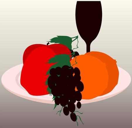 Illustration of fruits and goblets in a plate,  illustration
