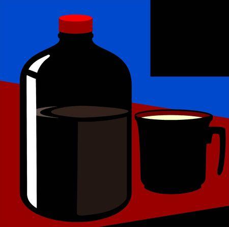 Illustration of medicine bottle and medicine Stock Illustration - 3419796