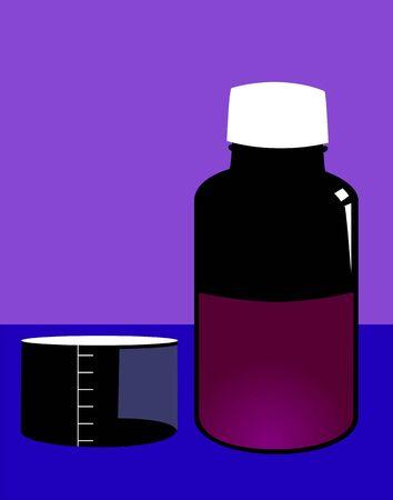 medicament: Illustration of syrup bottle and medicine