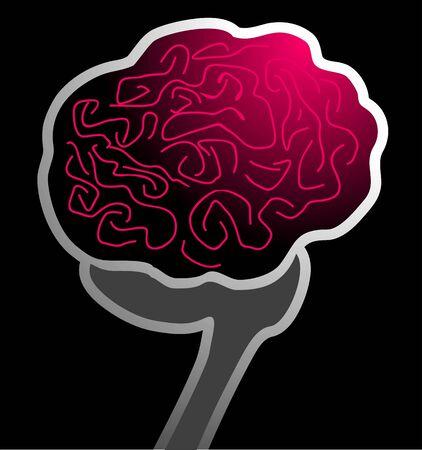 motor neuron: Illustration of human brain in black background