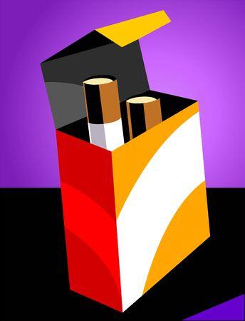Illustration of cigarettes in a packet  illustration