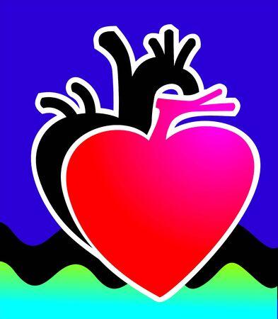 myocardium: Illustrazione di un cuore nero e ombra